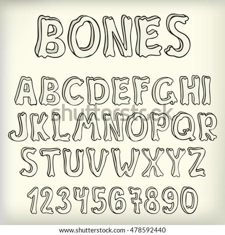 Hand Drawn Vector Letters Set Creative arkivert vektor (royalty