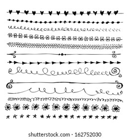 Hand drawn vector line border set and design element