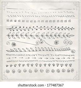 Hand drawn vector line border set and design element