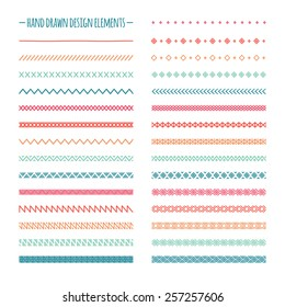 Hand drawn vector line border set and scribble design element. Geometric vintage fashion pattern. Illustration. Trendy doodle style brushes.