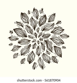 Hand drawn vector linocut, flower