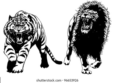 Hand drawn vector lion and tiger.