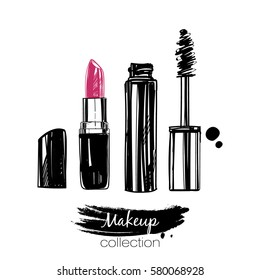 Hand drawn vector lipstick and mascara.