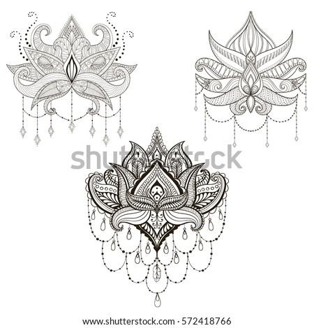 Hand Drawn Vector Lotus Flower Set Stock Vector Royalty Free