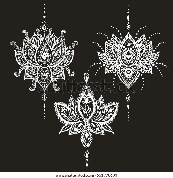 Hand Drawn Vector Lotus Flower Set Stock Vector Royalty Free 661978603