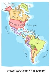 Hand drawn vector map of the Americas. Colorful cartoon style cartography of north and South America including United States, Canada, Mexico, Brazil, Argentina, Cuba, Colombia, Venezuela...