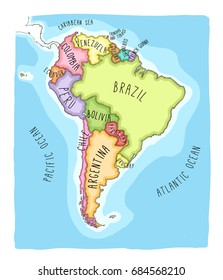 Hand drawn vector map of South America. Text, line  and colors on different layers. Perfect for infographics. Includes Brazil, Argentina, Chile, Paraguay, Uruguay, Colombia, Venezuela, Peru, Ecuador.