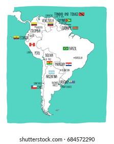 Hand drawn vector map of South America with flags. Elements different layers. Perfect for infographics. Includes Brazil, Argentina, Chile, Paraguay, Uruguay, Colombia, Venezuela, Peru, Ecuador.