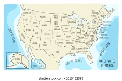 Hand drawn vector map of the United States of America. Sketch illustration with all the 50 states.