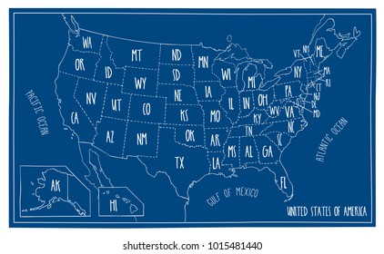 Hand drawn vector map of the USA. Blueprint style cartography of United States of America including all the 50 states.