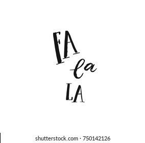 Hand drawn vector Merry Christmas rough freehand graphic greeting design element with handwritten modern calligraphy phase Fa la la isolated on white background.