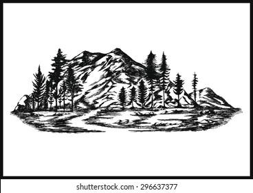 Hand drawn vector mountain - landscape illustration