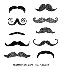 Hand drawn vector mustache set. cartoon barber silhouette hairstyle. Various types of whiskers isolated. Vector illustration.