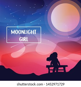 hand drawn vector nature illustration with moonlight and girl on first view. silhouette landscape. using for travel and nature background and card
