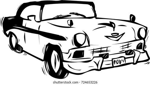 Hand drawn vector old american cuba oldtimer car.