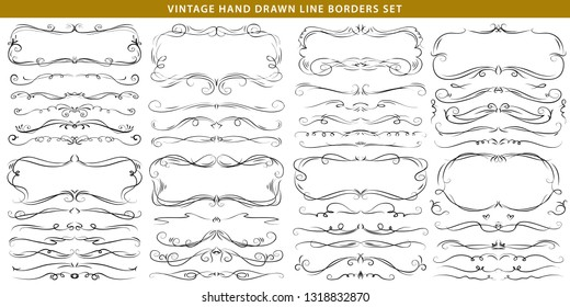 Hand drawn vector ornate swirl doodle vintage calligraphic design elements. Borders, frames, dividers for wedding greeting and invitation card.