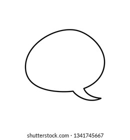 Hand drawn vector outline bubble with text. Message symbols, direct speech on white background. Black and white