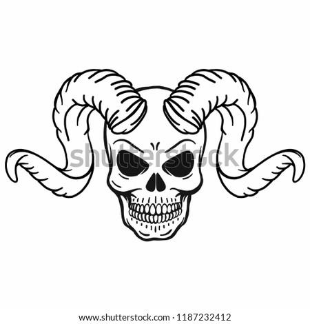 hand drawn vector outline skull horns stock vector royalty free