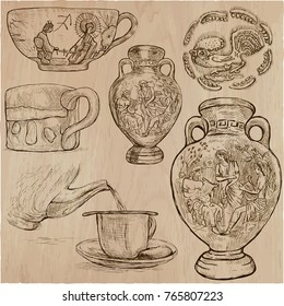 An hand drawn vector pack CERAMICS. Line art. Pack of pottery objects.