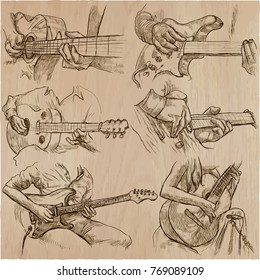 An hand drawn vector pack of GUITAR SOLOS. Line art. Pack of hands of guitarist. Guitar players play a solo.