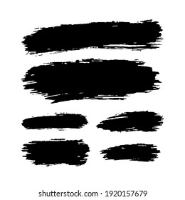 Hand drawn vector paint spots, black ink brush strokes set. Grungy artistic paint blobs highlights backgrounds. Grunge pen scribbles texture smudge, creative design elements. Abstract line stains.