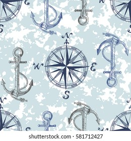 Hand drawn vector pattern with anchors and compass. Perfect for textiles, wallpaper and prints.