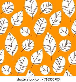 Hand drawn vector pattern with autumn leaves. Design for poster, kitchen textiles, clothing and website
