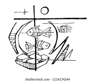 Hand drawn vector pencil illustration or drawing of Five breads and two fish