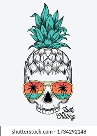 Hand drawn vector pineapple skull and sunglasses. For apparel prints, posters and other uses.