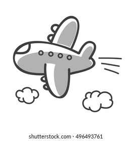 hand drawn vector plane