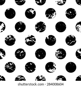 Hand drawn vector polka dot ornament grunge seamless pattern. Abstract black and white geometric texture background.