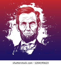 Hand drawn vector portrait. Abraham Abe Lincoln.