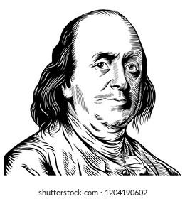 Hand drawn vector portrait. Benjamin Franklin.