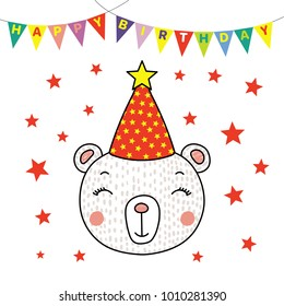 Hand drawn vector portrait of a cute funny bear in party hat, with text Happy Birthday. Isolated objects on white background. Vector illustration. Design concept for children, party, celebration, card