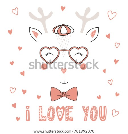eccd2cbaccd Hand drawn vector portrait of a cute funny deer in heart shaped glasses
