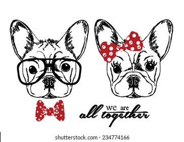 Hand Drawn Vector Portrait of French Bulldog in Pink Tie Bow and Monocle