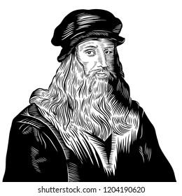 Hand drawn vector portrait. Leonardo Da Vinci.