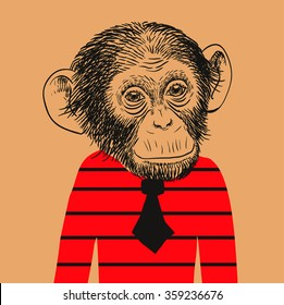 Hand Drawn Vector Portrait of Monkey in red sweater with black tie.