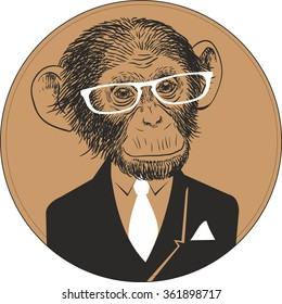 Hand Drawn Vector Portrait of Monkey in black suit with white tie and white glasses.
