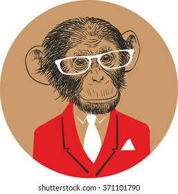 Hand Drawn Vector Portrait of Monkey in red suit with white tie and white glasses.