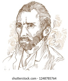 Hand drawn vector portrait.Vincent Van Gogh