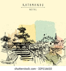 Hand drawn vector postcard template with Durbar square and Maju Deval temple in Basantapur, Kathmandu, Nepal, before earthquake. Travel sketch. Hand drawing made with markers