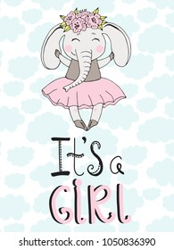 Hand drawn vector poster with lettering, cute elephant. Princess world. Cute print for children's room, cartoon romantic illustration.