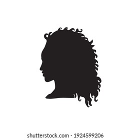 Hand drawn vector profile icon, beautiful afro american woman with curly hair. Clip art, design element, logo, isolated. Feminism, no racism, ethnic beauty. EPS 10, typography and digital use.