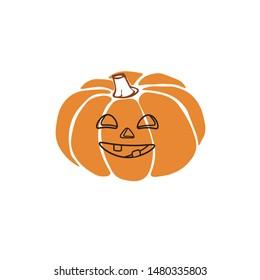 Hand drawn vector pumpkin ikon, autumn halloween background