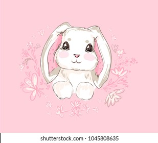 Hand Drawn Vector Rabbit, Cute Bunny