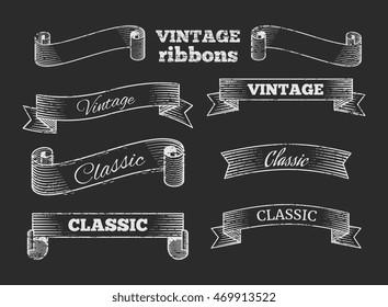 Hand drawn vector retro ribbon banners on blackboard. Set of template vintage elements illustration