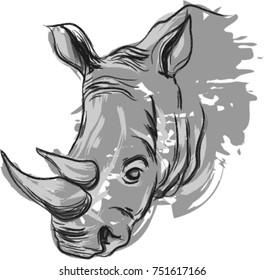 hand drawn vector rhino portrait