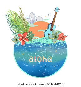 Hand drawn vector round shape Hawaiian postcard with water layer and ukulele. There are sunset and floral composition with plumeria, rice and palm leaves on the background. Signed with lettering.