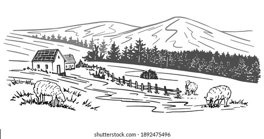 Hand drawn vector rural landscape. Houses, trees, mountain, sheeps. Monochrome graphic illustration isolated on white. Drawing in vintage engraving style for design wrap, print, poster, card, sticker.
